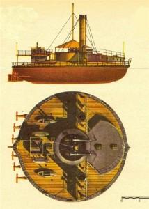 макет поповки-круглого броненосца времён русско-турецкой войны 1877-78 годов