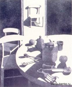 """Вики Адамс """"Натюрморт с серебряной ложкой"""", литография."""